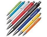Kunststoffkugelschreiber mit silbernen Applikationen und blau schreibender Großraummine